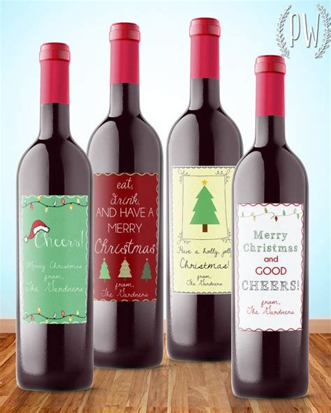 wine bottle stickers christmas wine label printable gift sticker by