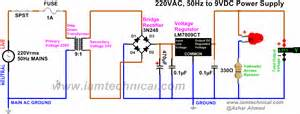 220vac to 9vdc regulated power supply using lm7805ct bridge rectifier 3n248 iamtechnical