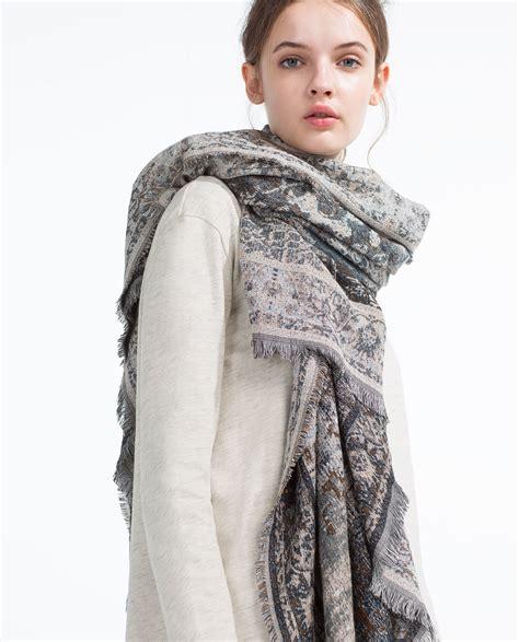 zara jacquard pattern scarf in brown lyst
