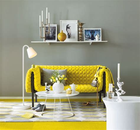 grey and yellow room via ligne roset usaa grey background pulls the bright shade back for a more sophisticated look
