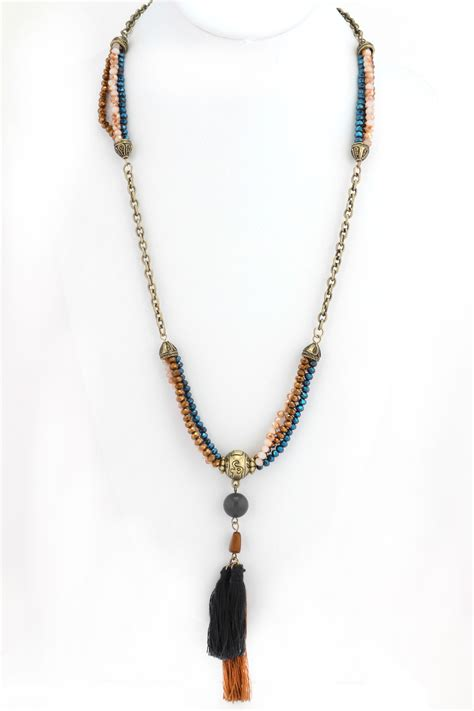 beaded tassel necklace beaded tassel necklace necklaces