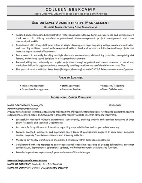 resume exles administration 8 business administration resumereport template document