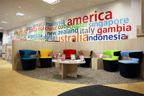 layout of travel agency office modern colorful trendy travel agency office interior