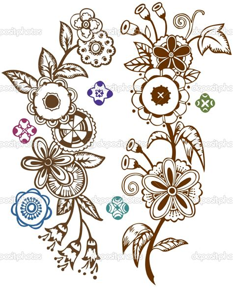 folk art tattoo funky folk flowers