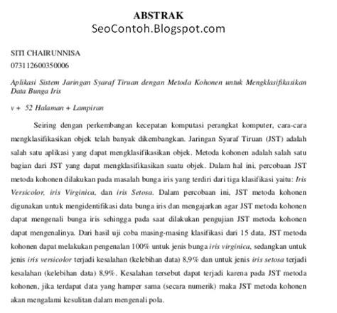 format penulisan abstrak contoh abstrak makalah skripsi tugas akhir karya tulis ilmiah