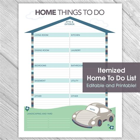 home things printable editable home to do list things to do list home
