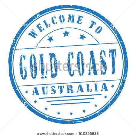 rubber sts gold coast rubber st text welcome gold coast stock vector