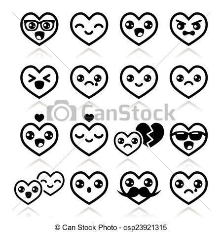 imagenes kawaii en blanco y negro vector clip art de kawaii corte valentino corazones