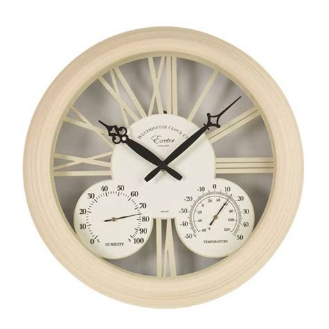 exeter garden wall clock thermometer