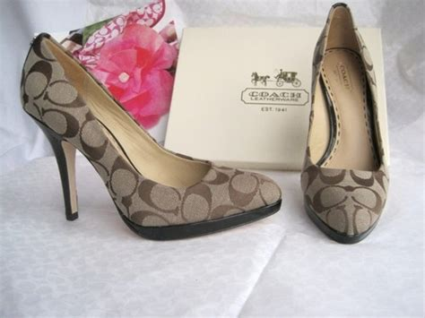 high heels coach new coach caya signature jacquard high heel pumps shoes 7