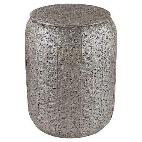 silver garden stool zena pierced metal silver garden stool