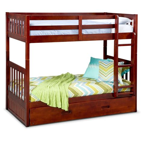 Ranger Twin Over Twin Bunk Bed With Trundle Merlot Bunk Bed