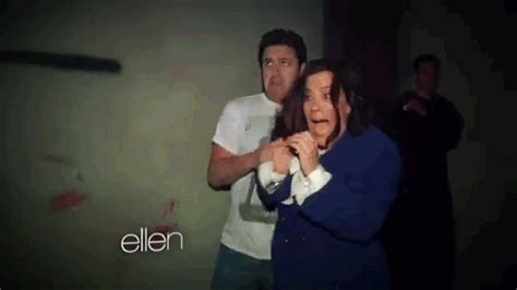 ellen sends andy to haunted house ellen degeneres gif find share on giphy