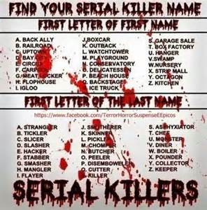 find your name serial killers pinterest
