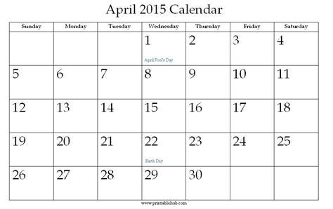 April Calendar 2015 Printable April 2015 Printable Calendar 171 Printable Hub