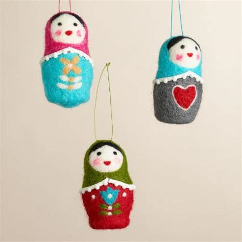 felt russian doll ornaments set of 3 world market