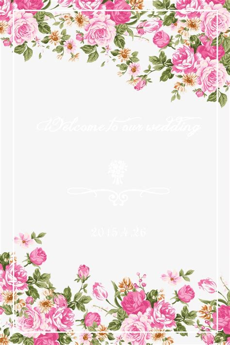 themes rose flower hand painted pink flower theme wedding welcome card png