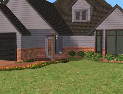 half brick half siding homes mod the sims maxis mixes earthtones set half siding