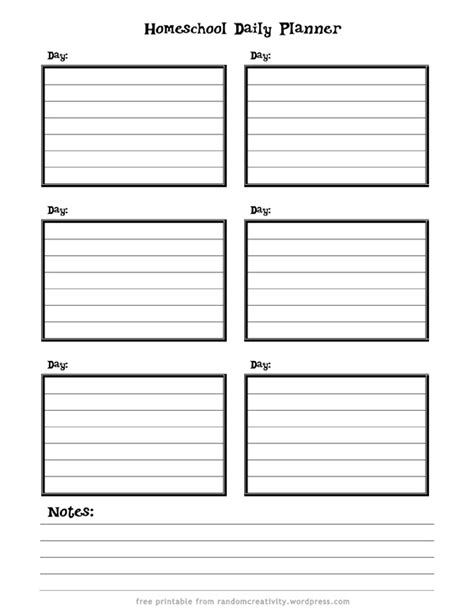 printable homeschool daily planner homeschool daily planner random creativity