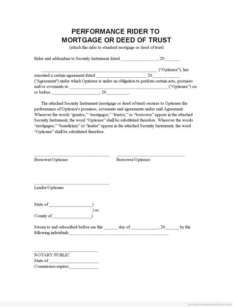 Printable Perf Mortgage Addendum Lease Options Form Lease Rider Template