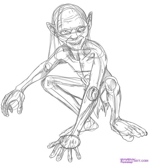how to draw gollum from lord of the rings step by step