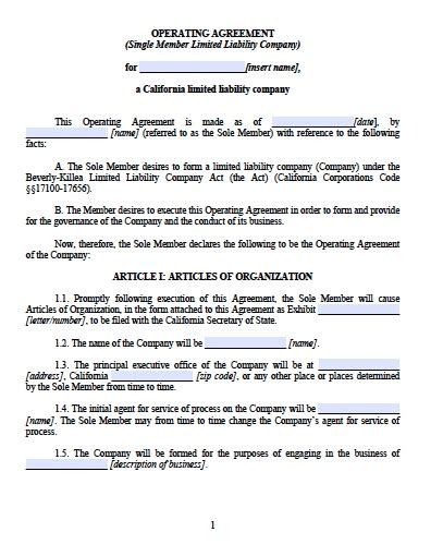 Download California Llc Operating Agreement Templates Pdf Word Wikidownload California Llc Operating Agreement Template