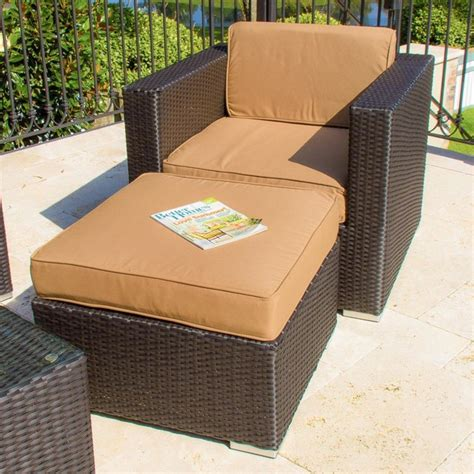 outdoor wicker chair with ottoman avery island resin wicker patio club chair with small