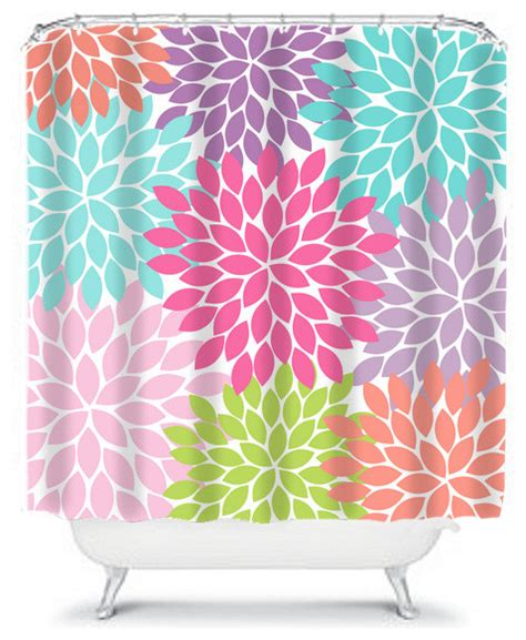 curtains made in the usa shower curtain flower bursts dahlia 71x74 bathroom decor