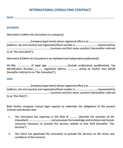 consulting agreement template sle consultant agreement 6 documents in pdf word