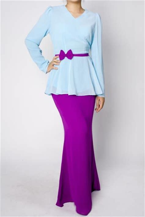Baju Dress Murah Wanita Royal Dress Lavender ademina peplum kurung baby blue tradisional http www
