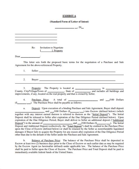 Sle Letter Of Intent To Purchase Sle Letter Of Intent To Purchase Property 8 Free Documents In Word Pdf