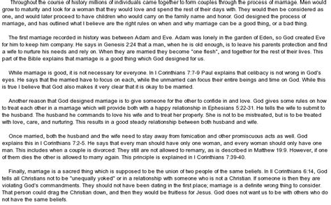 Bible Essays by What I Believe The Bible Says About Marriage At Essaypedia