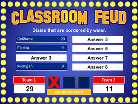 Classroom Feud Powerpoint Template Plays Like Family Feud Tpt How To Make Family Feud On Powerpoint