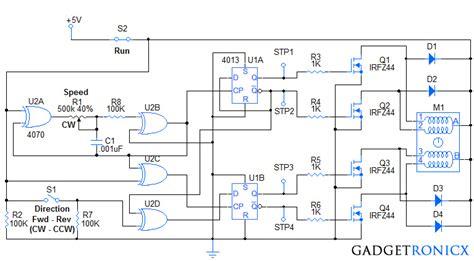 stepper motor controller circuit stepper motor controller circuit gadgetronicx