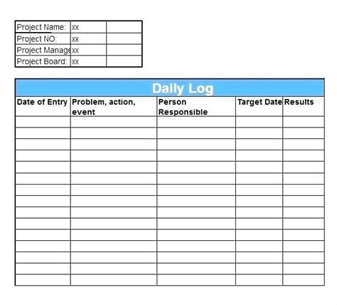 Construction Daily Report Template Excel Project Log Royaleducation Info Project Daily Log Template Excel