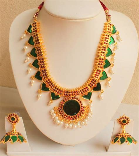 buy indian jewelry online latest indian fashion bridal buy gorgeous green unique design kerala style jewel set online