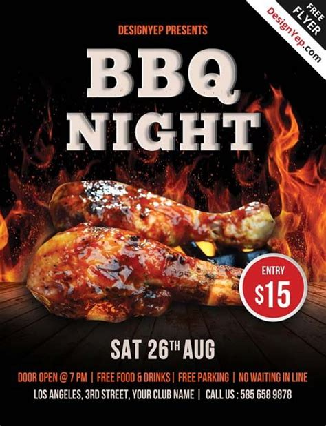 template bbq flyer free barbecue night psd flyer template favor