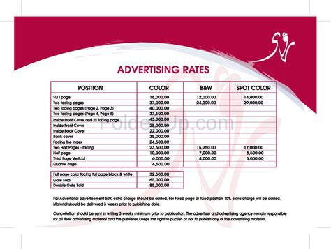 advertising rate card template exles of rate cards el vaquero graphics team