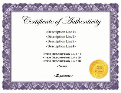 free printable certificate of authenticity templates certificate of authenticity template