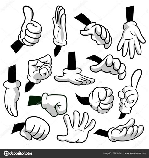 clipart mano dibujos animados las manos con guantes icono conjunto