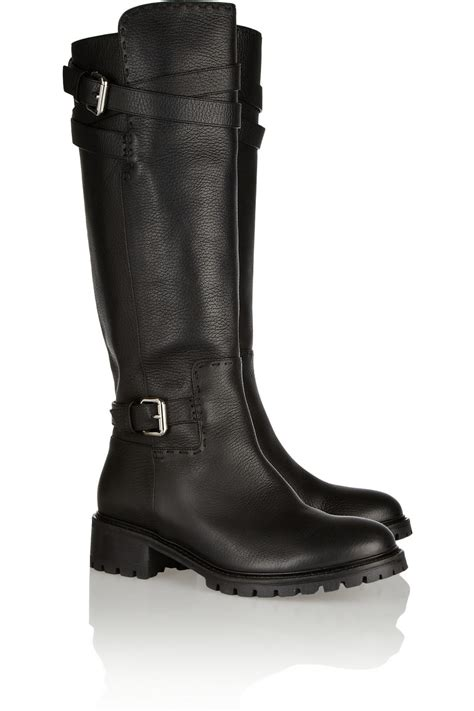 designer black leather flat winter mid calf boots