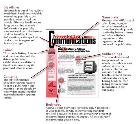 newspaper layout guide parts of a newsletter newsletter layout design tips