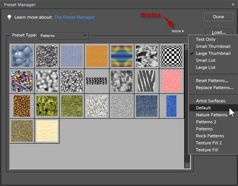 pattern manager photoshop preset manager in photoshop and photoshop elements