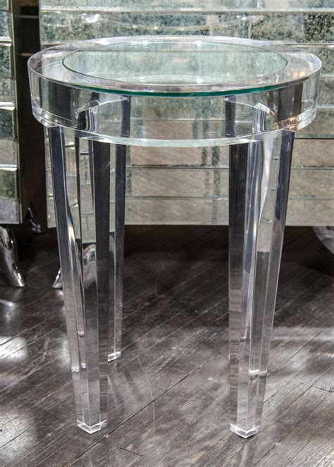 Acrylic Side Table by Acrylic Side Table With Inset Glass At 1stdibs