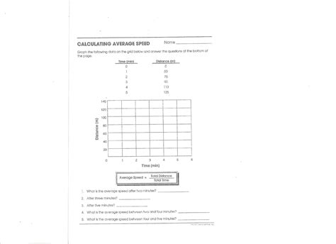 Speed Worksheet With Answers by Worksheets Calculating Average Speed Worksheet