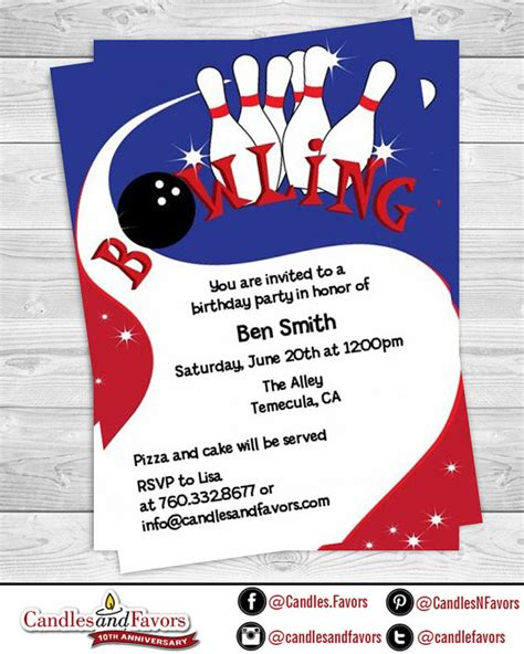 printable birthday invitations pdf bowling party for boys birthday party invitation