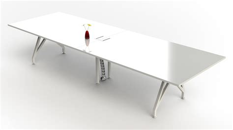 White Gloss Meeting Table Large White Conference Table Beautiful Retangular Shape Modern White Artificial Marble Top