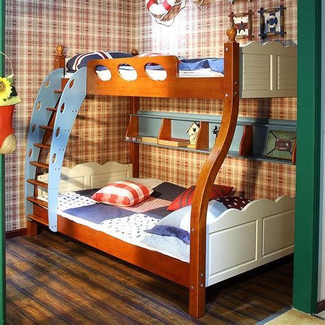 All Wood Bunk Beds All Solid Wood Bed Children S Picture Level Bunk Bed Bunk Bed Of Blue And White Furniture With