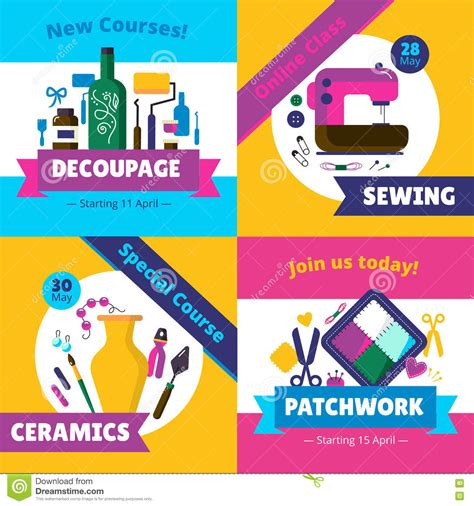 art design online courses hobby workshop courses 4 flat icons stock vector
