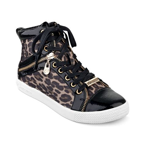 guess high top sneakers g by guess high top sneakers in animal leopard lyst